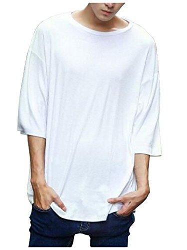 子猫メイン死[ソーロ トゥ] ビッグシルエット ロング丈 Tシャツ Uネック 良質素材 カットソー 6分袖 M ? XL