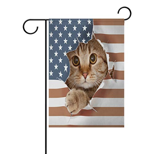 (BlueViper British Cat Paper USA Flag Garden Flag Banner 12 x 18 Inch Decorative Garden Flag for Outdoor Lawn and Garden Home Décor Double-Sided)