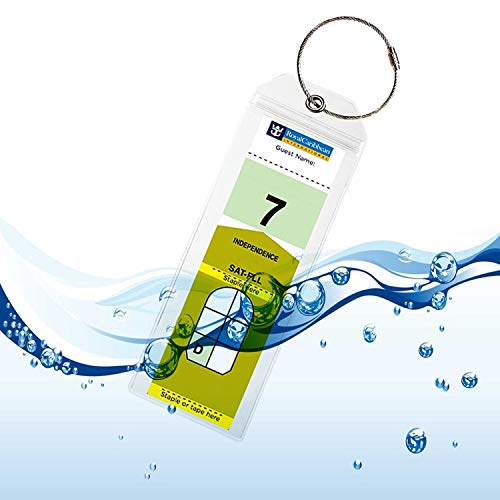 UGDXL Cruise Tags Luggage tag Holders for Royal Caribbean Celebrity Cruise Ship with Zip Seal & Steel Loops Thick PVC