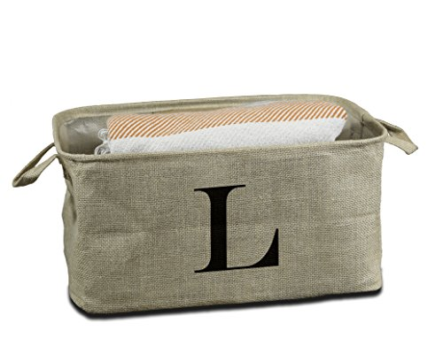 Urban Legacy Letter Initial Monogram Storage Basket Burlap Eco-Friendly Jute. Storage Bin Nursery, Beauty Products, Office Supplies, Gift Basket Monogram (L) (Basket Burlap)