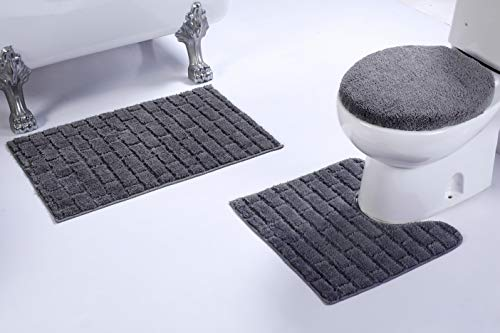 (Fancy Linen 3pc Non-Slip Bath Mat Set with Brick Pattern Solid Gray Bathroom U-Shaped Contour Rug, Mat and Toilet Lid Cover New # Bath 67)
