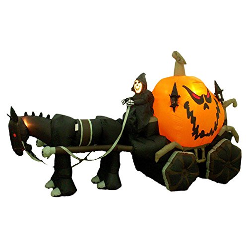 Halloween Inflatable Skeleton Ghost Driving Carriage Decoration - Polyester Easy To Set Up Fun and Spooky - High Quality Materials Zippers to Access Light Bulbs