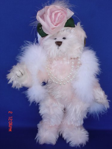 (Ellis Collection Victorian Pink Teddy Bear Hat Lady Dressed Plush Stuffed Animal Toy, 10