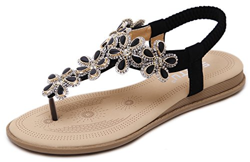 - Women Summer Flat Sandals, Bling Bling Bohemian T-Strap Herringbone Thongs, Classic Black Floral Rhinestone Gem, Simple Open Toe Comfy T Strap Shoes for Dressy Casual Jeans Daily Wear Beach Holiday