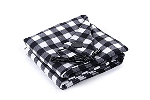 BARCOCASE Quality Polar Fleece Heated Travel Blanket for Automobile 12V, Black/White Plaid - Plaid Electric Blanket