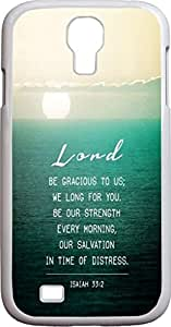 DAOJIE CASE S4 Case Bible Verses,Samsung Galaxy S4 Case Christian Quotes I9500 I9508 I959 Isaiah 33:2 load be gracious to us we long for you be our strength every morning our salvation in time of distress blue sea sunrise print
