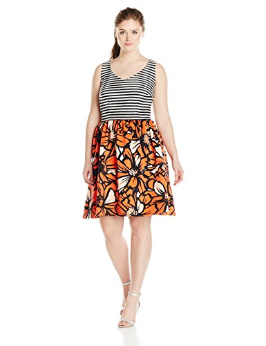 Taylor Dresses Women's Plus-Size V Neck Stripe Top Floral Bottom Scuba, Black/Poppy, 16W