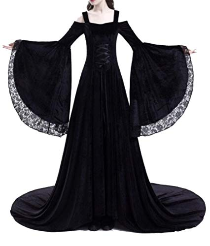 (Mstyle Women The Medieval Times Long Sleeve Cold Shoulder Like Silk Lace Evening Prom Party Maxi Dress Gown Black)