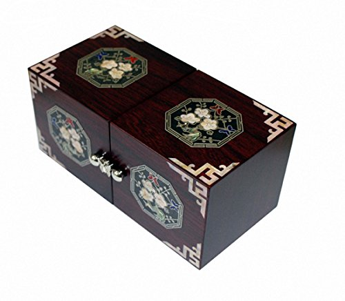 Mother of Pearl Handcrafted Jewelry Case,jewel Box Trinket Box Japanese Apricot Flower Design (Shell Bangles Wooden)