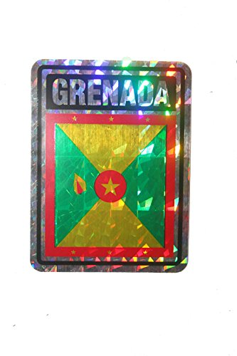 Grenada SQUARE Country Flag Metallic Bumper Sticker Decal .. Size : 4