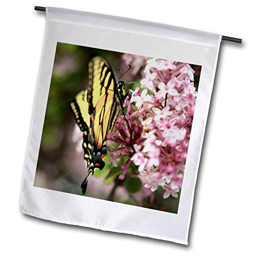 3dRose Stamp City - Nature - Photo of a Tiger Swallowtail Covered in Pollen from The Lilac Flowers. - 12 x 18 inch Garden Flag (fl_295291_1)