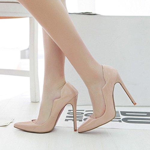 Aisun Damen Lack Kunstleder Spitz Zehen Stiletto High Heels Low Top Pumps Brautschuhe Aprikosenfarben
