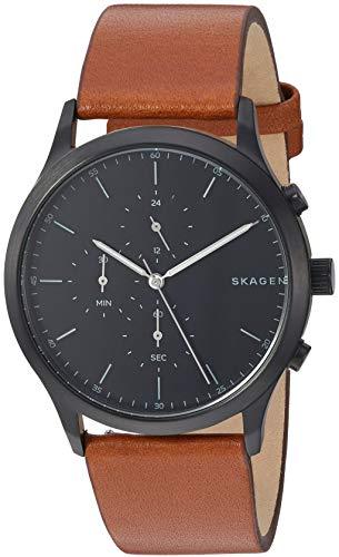 (Skagen Men's Jorn Stainless Steel Analog-Quartz Leather Strap, Brown, 20.9 Casual Watch (Model: SKW6477))