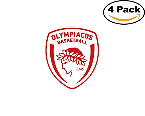fan products of Basketball Olympiacos B.C. Logo 4 Stickers 4X4 Inches Car Bumper Window Sticker Decal