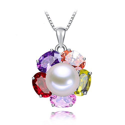 SuperLouisa Fashion White Pink Purple Pearl ruby-jewelry Pendants High 925 Sterling Silver Pendant