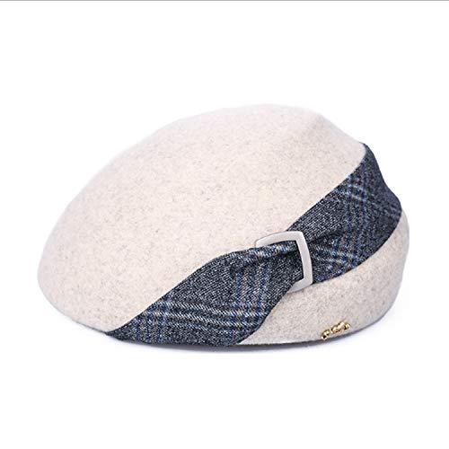 DSLSM Special Design Hat Fall Winter Women's Cap Wild Lattice Felt Hat 8 Horny Leisure Painter Hat Hat Bell Cap (Color : Camel, Size : M) ()