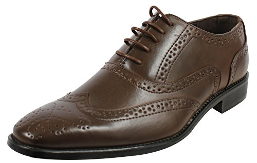 Mah Heren Faux Lederen Lace-up Wingtip Oxford Heren Dress Schoenen Bruin