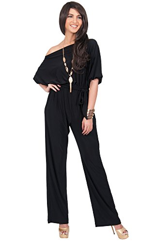 KOH KOH Womens One Shoulder Short Sleeve Sexy Wide Leg Long Pants One Piece Jumpsuit Jumpsuits Pant Suit Suits Romper Rompers Playsuit Playsuits, Black, Large L 12-14 (Sexy Pants Suits)