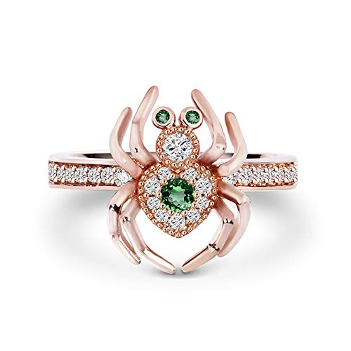 (GNOCE Spider Ring Sterling Silver 18k Rose Gold Plated with Cubic Zirconia Personality Rings Jewelry Wedding Engagement Anniversary Promise (9(U.S)))
