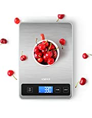 Báscula Cocina, Balanza de Cocina Homever de 15 kg Panel Grande de 9*6.3Pulgadas, Balanzas de Cocina Digital de Acero Inoxidable 5 unidades de medida(lb: oz, fl'oz, ml, g, kg) y precisión de 1g