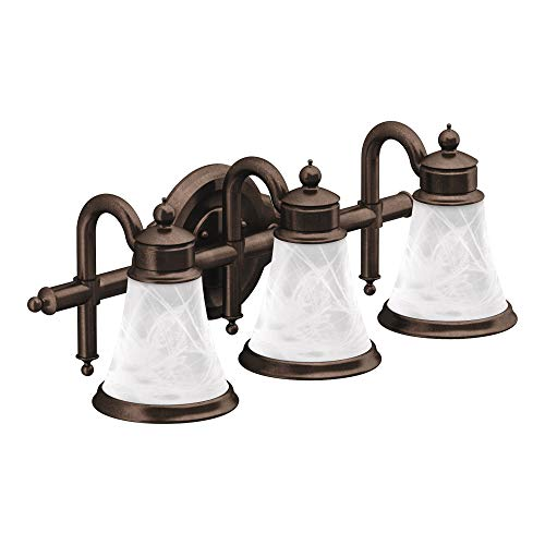 Moen YB9863ORB Waterhill 3 Dual-Mount Bath Bathroom Vanity Light Fixture with Frosted Glass, 10.60 x 27.20 x 9.10 inches, Oil Rubbed Bronze ()