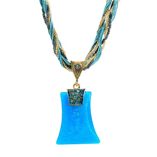 Natural Light Blue Turquoise Pendant - Myhouse Bohemian Natural Stone Pendant Rhinestone Necklace Clavicle Chain Sweater Chain for Women, Light Blue