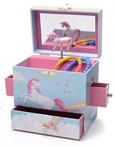 JewelKeeper Musical Jewelry Box with 3 Drawers, Rainbow Unicorn Design, Somewhere Over the Rainbow Tune by JewelKeeper
