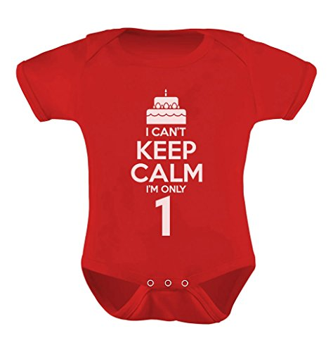 TeeStars - Birthday Cake - I Can't Keep Calm I'm one Cute Baby Bodysuit 18M Red