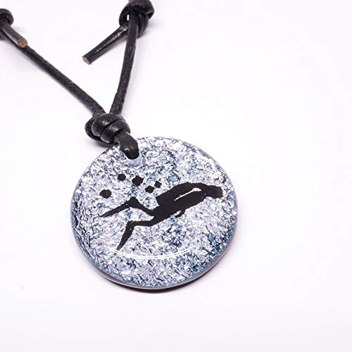 Scuba Jewelry Gifts for Diver Silhouette Pendant Silver color Fused Dichroic Glass with Leather necklace