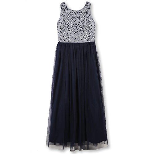 Speechless Big Girls 7-16 Tween Maxi Dress with Studded Bodice, Navy, 16