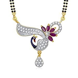 Amaal Women's Mangalsutra Set Gold Pendant With Chain In American Diamond Jewelry