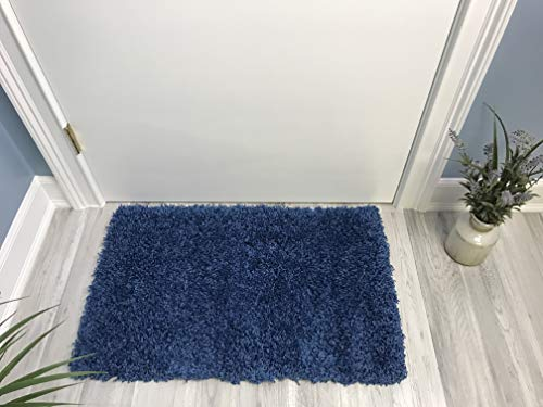Shag Door Mat | Plain Solid Sapphire Blue Shag Doormat Rugs for Living Room Bedroom Nursery Kids College Dorm Carpet by European Made MH10 Maxy Home