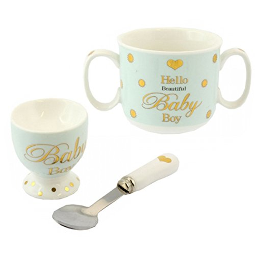 BABY BOY EGG CUP SPOON MUG CUPS CHRISTENING DAY GIFT SET PRESENT BOXED NEW BORN LP