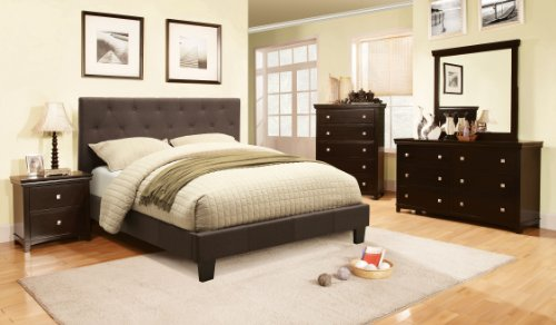 Furniture of America Roy Fabric Platform Bed with Button Tufted Headboard Design, Queen, Gray