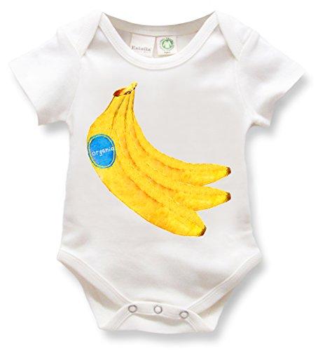 Estella Unisex Short Sleeve Hand Knit Soft Organic Cotton Baby Bodysuit Onesie Romper, Banana, 0-3 Months