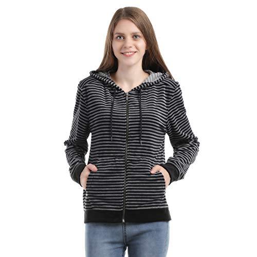 home swee Womens Zip up Yoga Hoodies Velvet Active Hooded Sweatshirts Tops (S)