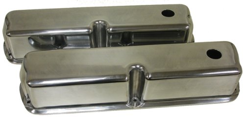 - 1962-85 Ford Small Block 289-302-351W-5.0L Tall Polished Aluminum Valve Covers - Smooth