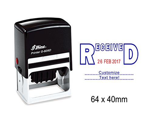 - Self Inking Shiny Date Stamper With Received & Customize Text Here Text Office Stationery Rubber Stamp S-829D