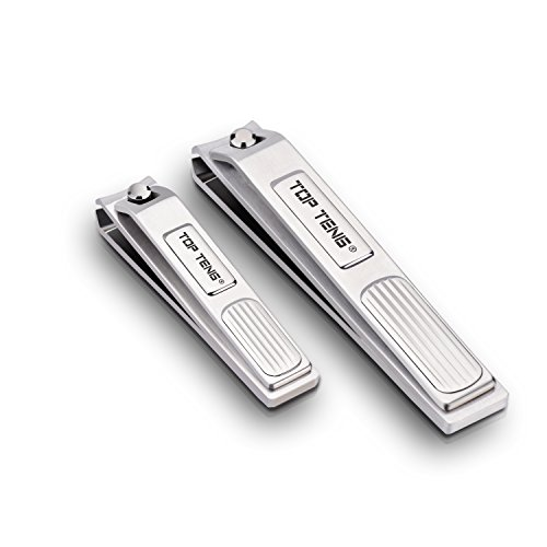 TOP TENG® Deluxe Brushed Stainless Steel Sharpest Nail Clippers Set in Gift Box   Fingernail + Toenail Clippers Set   Perfect Nail Cutter for Men & Women - Makes a Great Gift