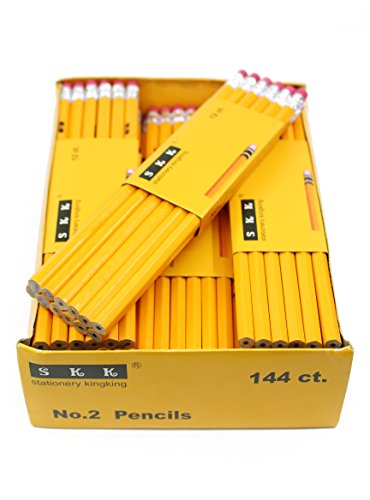 SKKSTATIONERY Pencils, 2 HB, 144/box, Yellow Wood Pencil Great Office Supplies For Writing, Drawing & Sketching