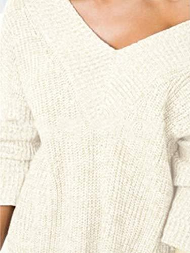Invierno Calentar Manga Larga Escote en V de Suéter Jersey Sweater Top: Amazon.es: Ropa y accesorios