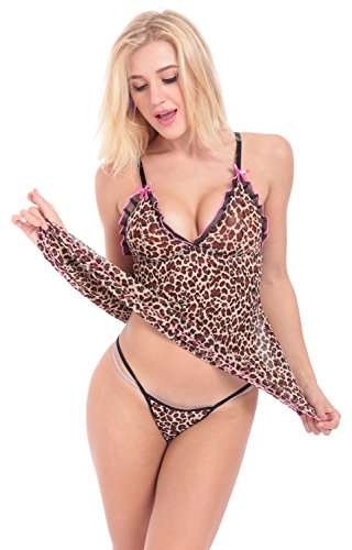 Blidece Women's Leopard Cami Underwire Babydoll with G-String (Leopard Babydoll And Thong)