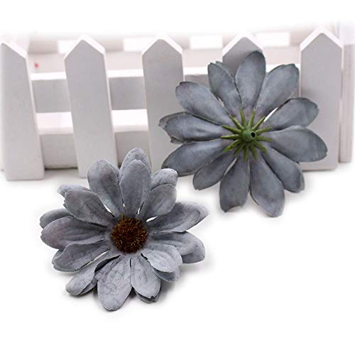 retro daisy Silk Artificial Flower Head Wedding Decoration DIY Party Festival Home Decor Wreath Scrapbook Craft Fake Flowers 30pcs/lot 6cm (Gray)]()