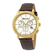 MATTHEY-TISSOT - Reloj casual para hombre, correa de piel de cuarzo, acero inoxidable, café, 20 (modelo: H9315CHPLI)