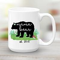 Mama Bear est. 2018, Large 15 oz Ceramic Coffee Mug, Baby Shower Gift New Mom