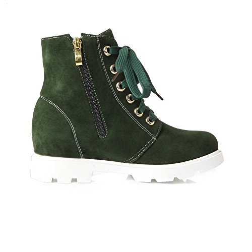 Frosted Top Round Toe Kitten Closed Zipper Women's Low AgooLar Green Heels Boots 5qXwzt