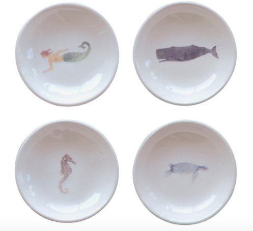 """Christina Home Designs Set of 8 Sea Life 3"""" Round Ceramic Dishes"""