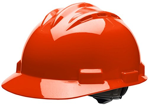Bullard 62HOR  Standard Series Vented Cap Style Hard Hat, 4 Point Ratchet Suspension, Cotton Brow Pad, Hi-Viz Orange, One Size