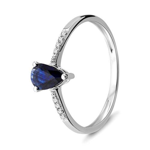 Miore - MP074R - Bague Femme - Or blanc 750/1000 (18 carats)1.2 Gr - Saphir et Diamants 0,04 cts