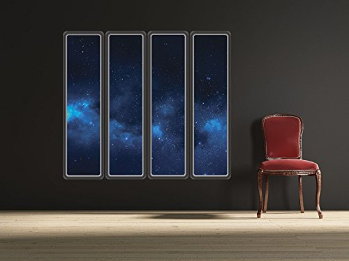 Blue Nebula Space Windows - Set of 4 Wall Decals - Great for Space Themed Rooms - 36